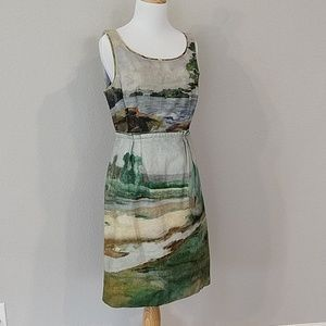 Anthropologie Odille tapestry watercolor dress 8